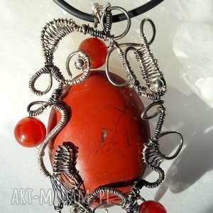 wisiorki wisior jaspis, wire, wrapping, srebro, karneol, zawieszka