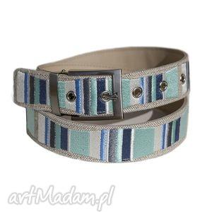 Stripes pasek haftowany mięta,niebieski,szary, pasek, haft, skóra, unisex