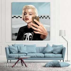obraz na płótnie monroe selfie 100x100cm - obraz, salon, wnętrze, nowoczesny