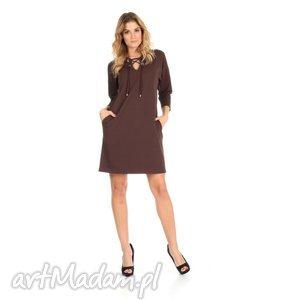 46-sukienka sznurowany dekolt,brązowa,rękaw 3 4, lalu, sukienka, dzianina, bawełna