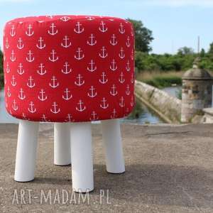 pufa czerwone kotwice - białe nogi 36 cm, puf, taboret, hocker, vintage