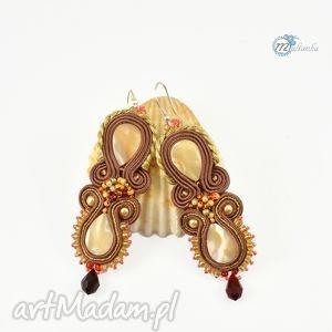 Brązowo-złote kolczyki sutasz - ,kolczyki,kryształki,sutasz,soutache,