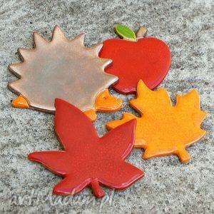 jesienne magnesy ceramiczne, liście, jeż, jabłuszko, jesień, magnesy, ozdoba