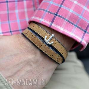 ręcznie zrobione męska bransoletka korek jeans joyee cork anchor