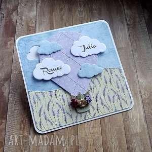 Podróż poślubna, kartka-na-ślub, życzenia-ślubne, lawenda, balon, chmury, róże