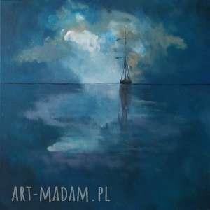 morze-samotna łódź-obraz akrylowy formatu 40/40 cm, morze, obraz, łódź