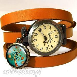 jesienne drzewo - zegarek bransoletka na skórzanym pasku - symboliczny