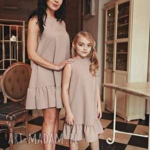 LATORI - Sukienka dziewczęca z kolekcji Mama i Córka dla córki LD41/2 (Beż)
