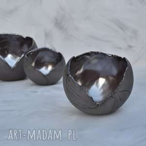 Zestaw - lampion ceramiczny ozdobny szkliwiony świecznik