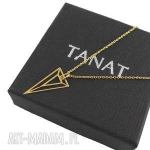 Pozłacany geometryczny naszyjnik TRÓJKĄT pudełko, pozłacany, naszyjnik, trójkąt