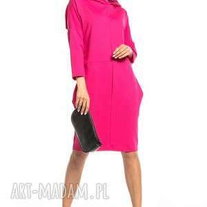 sukienki luźna sportowa sukienka z kapturem, t321, fuksja
