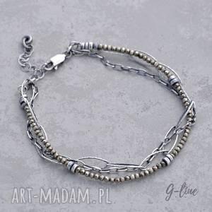 handmade delikatny piryt. Srebrna bransoletka z łańcuszkami