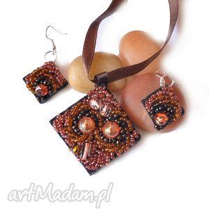 świąteczny prezent, komplet haft koralikowy, haft, komplet, kolczyki