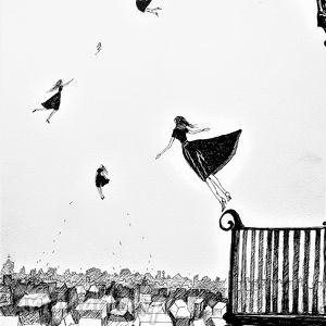 Rysunek piórkiem LEKKOŚĆ artystki plastyka Adriany Laube, kobieta, miasto, latająca