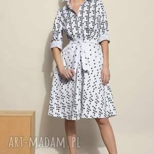 sukienki biała szmizjerka w pepitkę