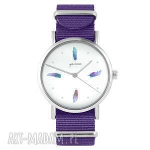 zegarek - turkusowe piórka fioletowy, nylonowy, zegarek, nylonowy pasek, typu