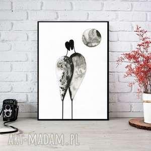 dekoracje grafika a4 malowana ręcznie, minimalizm, abstrakcja czarno-biała