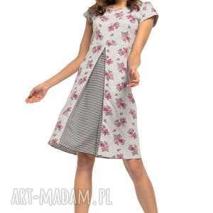 sukienki sukienka z kontrafałdą przodu, t263, wzór kwiatowy paski