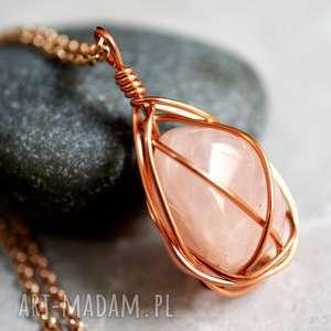 Łańcuszek różowy kwarc - kamień, różowy, złoto
