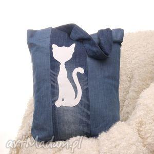 hand-made na ramię dżinsowa torba z kotem