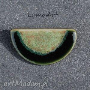Ceramiczna Zielona Broszka., broszka, ceramiczna, biżuteria