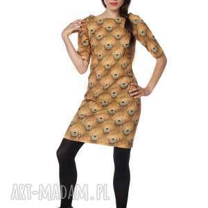 Sukienka pawie oczko bawełna Golden Eye, polska-marka, bawełna, jesień
