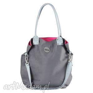 ręcznie wykonane na ramię torebka szara z szarobłękitnymi uchwytami