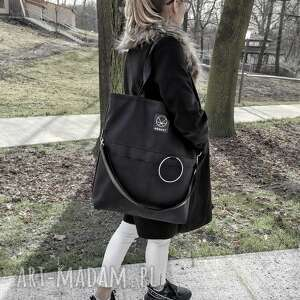 na ramię duża torba zamek city noise black xl, torba, oversize