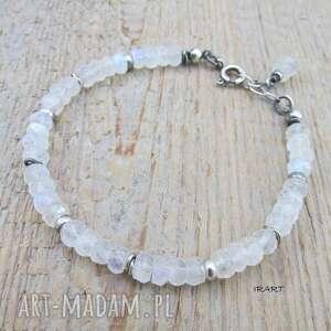 Kamień księżycowy z przekładkami - bransoletka 390 irart srebro,