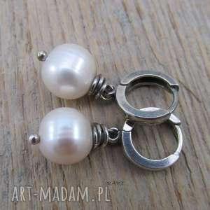 delikatne kolczyki z perła, srebro, kolczyki