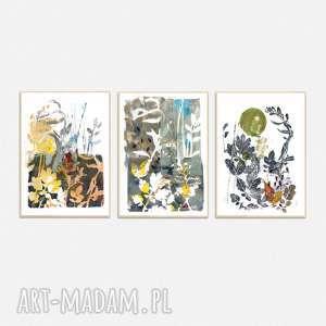ręcznie wykonane grafiki a4 abstrakcja - zestaw, grafika, obraz, liście, rośliny