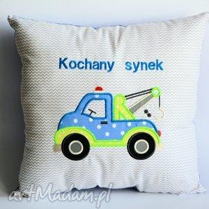 Poduszka - Kochany synek, poduszka, samochód, chłopczyk, dedykacja, aplikacja