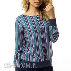Bluzka w paski Strisce Colorate, rozpinana, paski, rękaw, ściągacz, guziki, casual