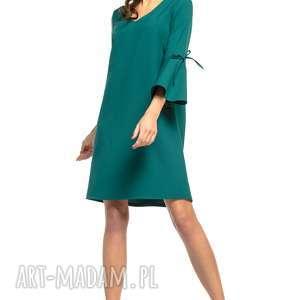 Sukienka z falbaną przy rękawie i dekoltem v, t273, szmaragdowy