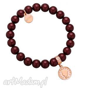 bransoletki bordowa bransoletka z pereł swarovski crystal monetą