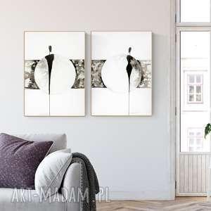 Zestaw 2 Grafik 50x70 Cm Wykonanych Ręcznie Plakat Abstrakcja Elegancki Minimalizm
