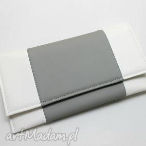 kopertówka - biała i środek szary, kopertówka, prezent, wizytowa, wieczorowa
