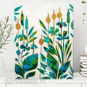 abstrakcyjny obraz z motywem kwiatowym - water garden 30x40 cm, ręcznie