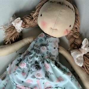 szyta laleczka szmacianka anolina - turkusowe lalki, lalka szmacianka, szyta