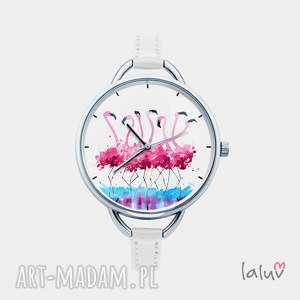 zegarki zegarek z grafiką flamingi, prezent, kolorowy, różowe, ptaki, egzotyczne