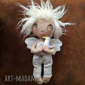 hand-made dekoracje aniołek dekoracja ścienna - figurka tekstylna ręcznie szyta i malowana