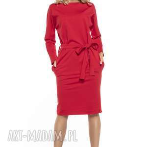 Luźna sukienka z paskiem i kieszeniami, T250, czerwony, luźna, sukienka, pasek,