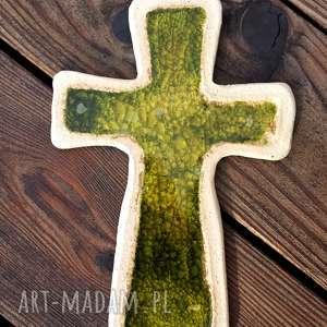Krzyżyk na ścianę ceramika i szkło 9 - ,krzyż,krzyżyk,glina,ceramiczny,szkło,fusing,