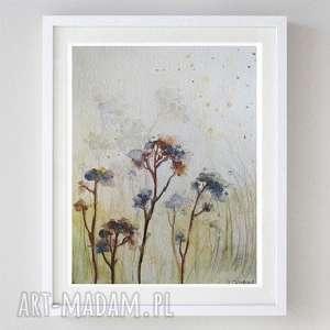 jesienna łąka -akwarela formatu a5, akwarela, papier, łąka, kredki