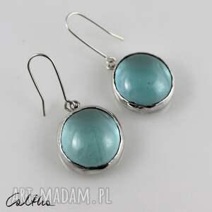 błękitne w srebrze - kolczyki 202826-01, kolczyki, klipsy, wiszące, szklane