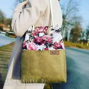 wyjątkowy prezent, torebka piwonie i khaki, torba, w kwiaty, shoperka