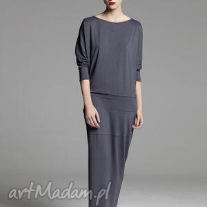Sukienka Taylor, sukienka, grafitowa, długa, prosta, dzianina, kieszenie