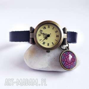 zegarek - mandala skórzany, granatowy, zegarek, bransoleta