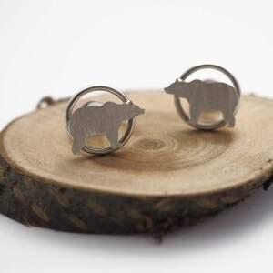 srebrne kolczyki niedźwiedzie, srebro, boho, mini, las