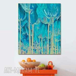 Grafika turkusowa drzewa tulipany 80 x 100, minimalizm